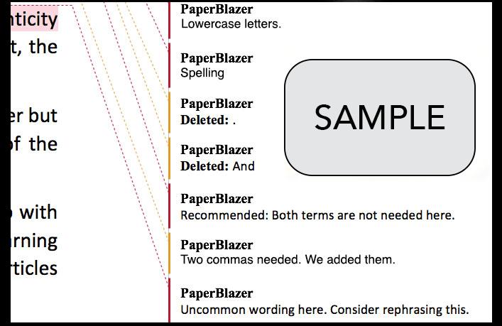 Sample of PaperBlazer Edits